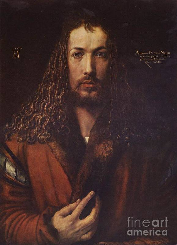 Pd Art Print featuring the painting Self Portrait Durer by Pg Reproductions