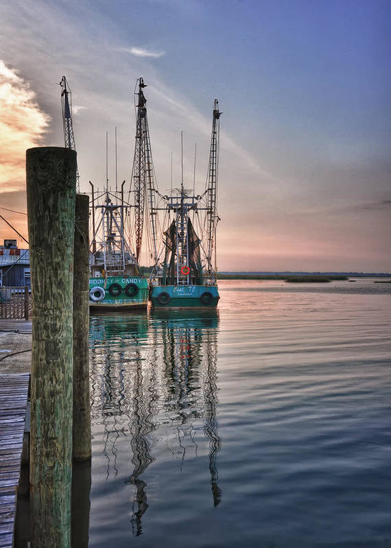 Apalachicola Art Print featuring the photograph Shrimpin' Boats by Brian Mollenkopf
