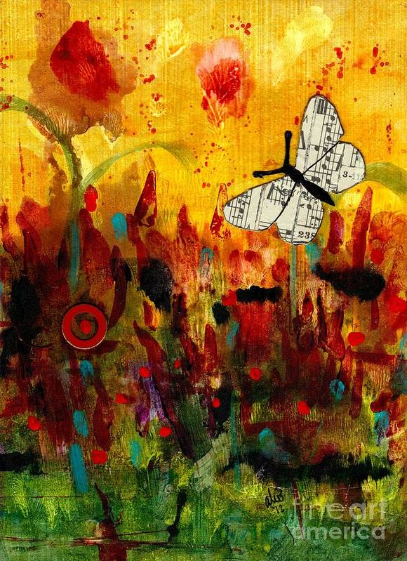 Emotive Art Art Print featuring the mixed media Singing Butterfly by Angela L Walker