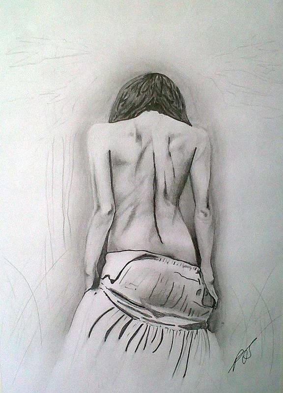 Nude Art Print featuring the drawing Skirt II by Paula Steffensen
