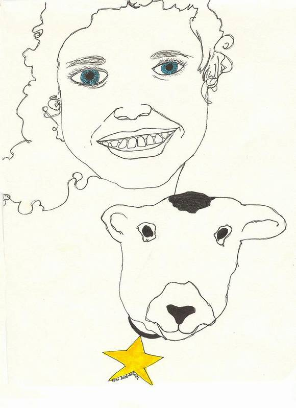 Smiling Art Print featuring the drawing Smiling Child With Lamb by Antoinette Wetzel