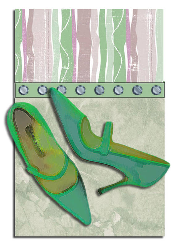 Shoes Heels Pumps Fashion Designer Feet Foot Shoe Stilettos Painting Paintings Illustration Illustrations Sketch Sketches Drawing Drawings Pump Stiletto Fetish Designer Fashion Boot Boots Footwear Sandal Sandals High+heels High+heel Women's+shoes Graphic Sophisticated Elegant Modern Art Print featuring the painting Spring Green Stripes And Rivets by Elaine Plesser