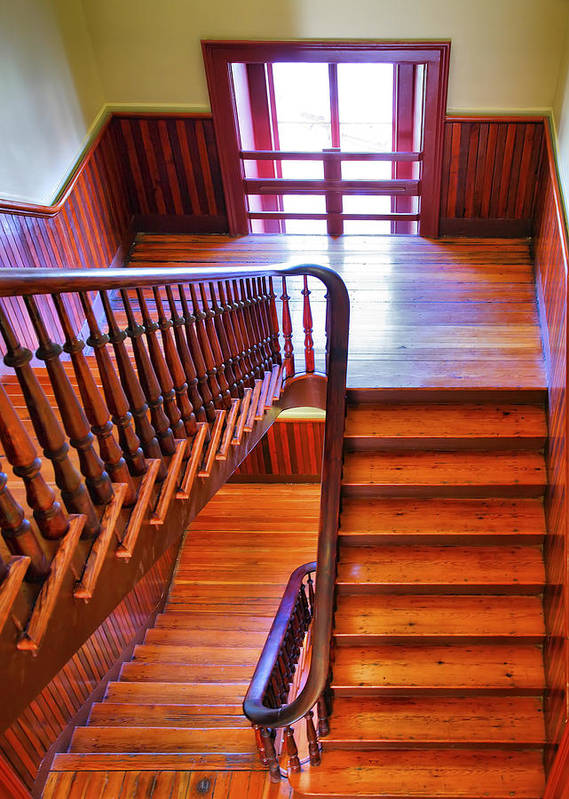 Stairs Art Print featuring the photograph Stairway In Old Naval Hospital by Steven Ainsworth