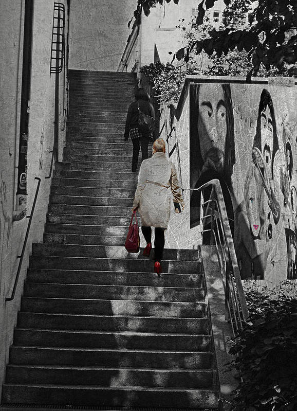 Woman Art Print featuring the photograph Stairway To.. by Claudia Moeckel