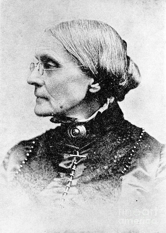 History Print featuring the photograph Susan B. Anthony, American Civil Rights by Photo Researchers, Inc.