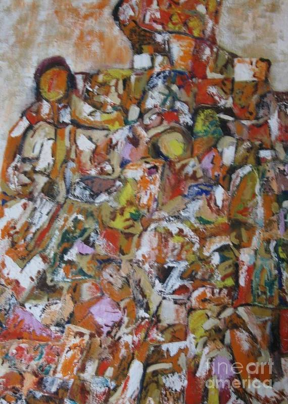 Abstract Art Print featuring the painting Teeming Population by Nedunseralathan R