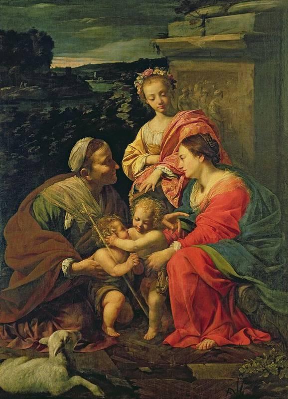 The Virgin And Child With St. Elizabeth Art Print featuring the painting The Virgin And Child With Saints by Simon Vouet
