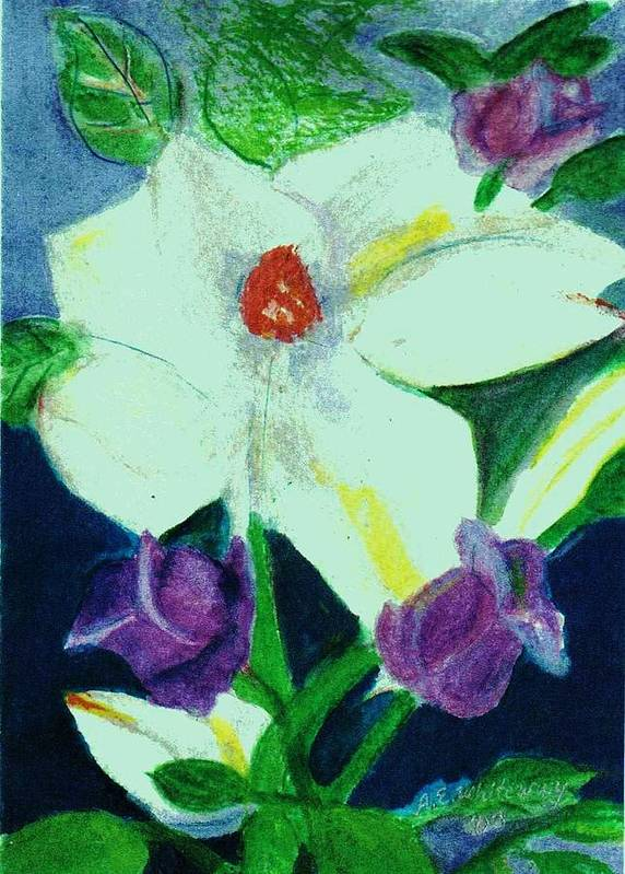 White Art Print featuring the painting White And Purple Delight by Anne-Elizabeth Whiteway
