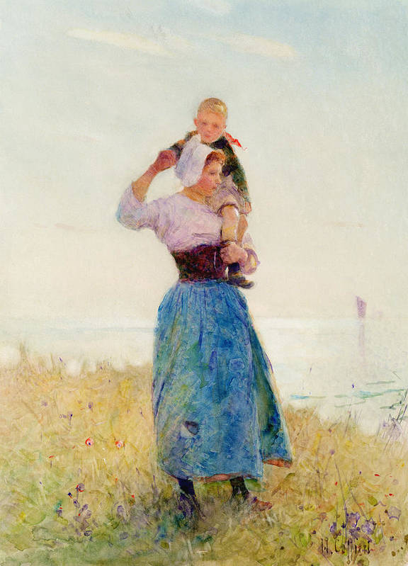 Summer; Coast; Sea; Breezy Art Print featuring the painting Woman And Child In A Meadow by Hector Caffieri