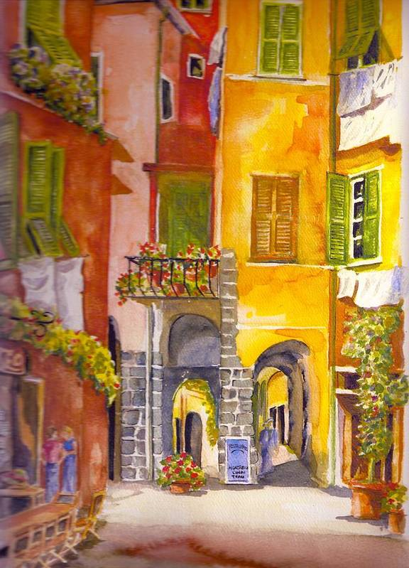 Italy Art Print featuring the painting  Cinque Terre Monterrosso by KC Winters