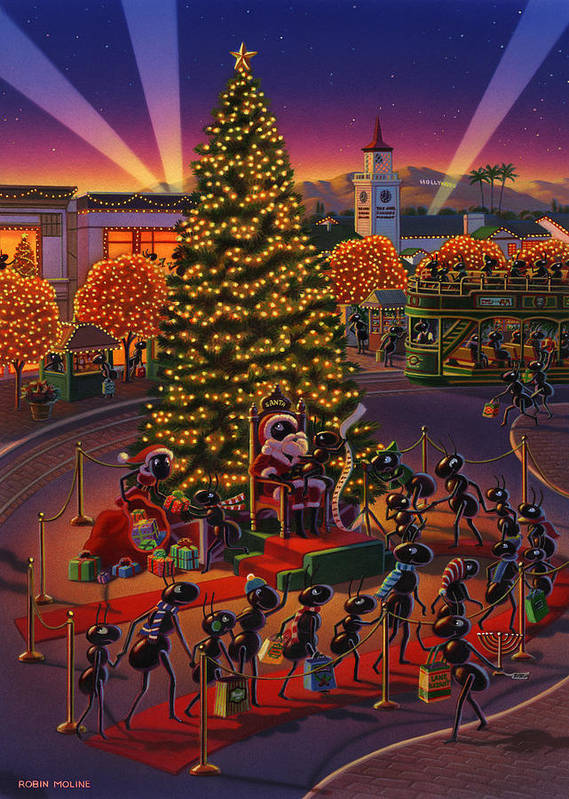 Ants Art Print featuring the painting Visiting Santa Anta by Robin Moline