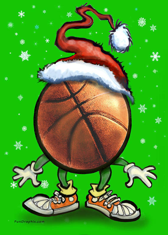 Basketball Art Print featuring the digital art Basketball Christmas by Kevin Middleton