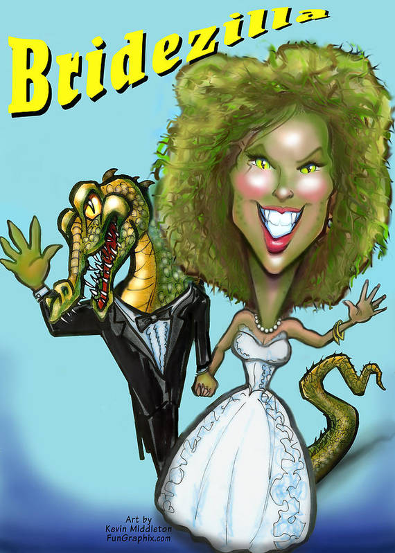 Bridezilla Art Print featuring the greeting card Bridezilla by Kevin Middleton