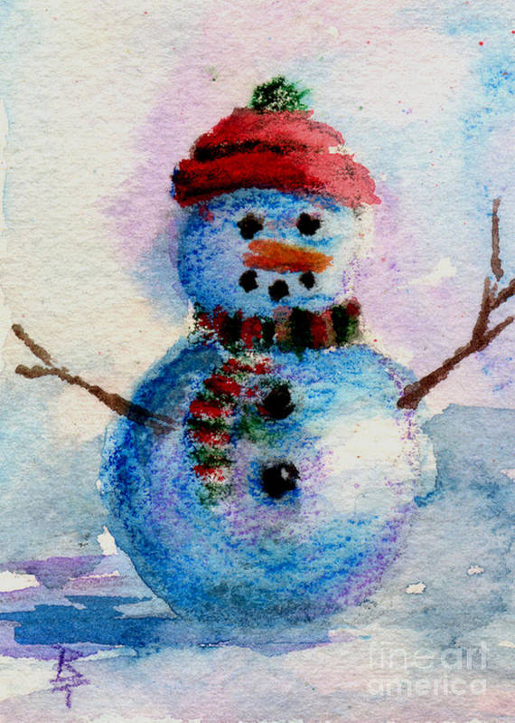 Snowman Art Print featuring the painting Frosty Aceo by Brenda Thour