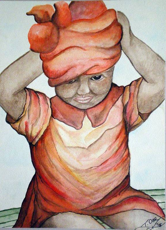 Girl Art Print featuring the painting Indian Girl by Tammera Malicki-Wong