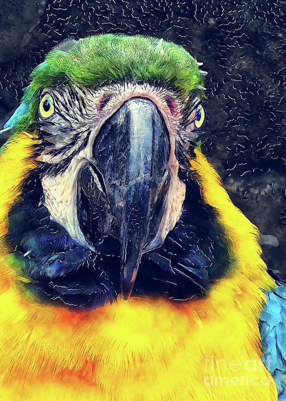 Ara Art Print featuring the digital art Parrot Art by Justyna JBJart