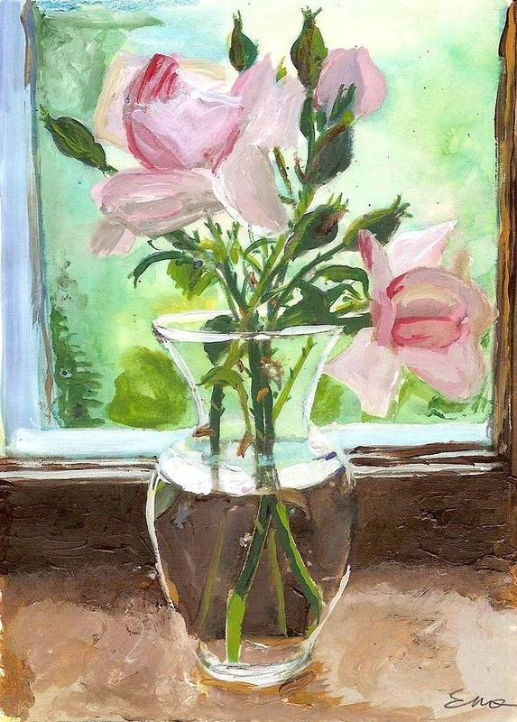 Roses Art Print featuring the painting Pink Roses by Ena Carroll