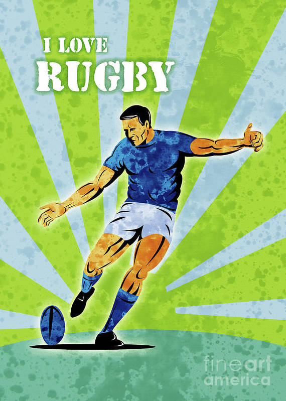 Rugby Art Print featuring the digital art Rugby Player Kicking The Ball by Aloysius Patrimonio