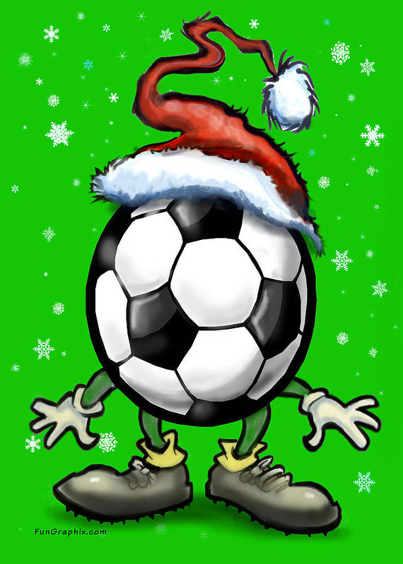 Soccer Art Print featuring the greeting card Soccer Christmas by Kevin Middleton
