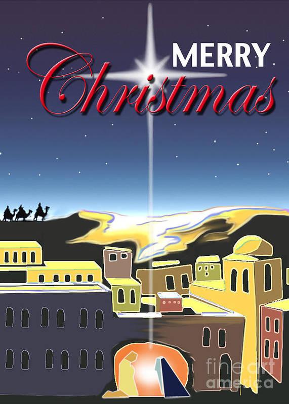 Digital Art Print featuring the digital art Star Of Bethlehem by Larry Cole