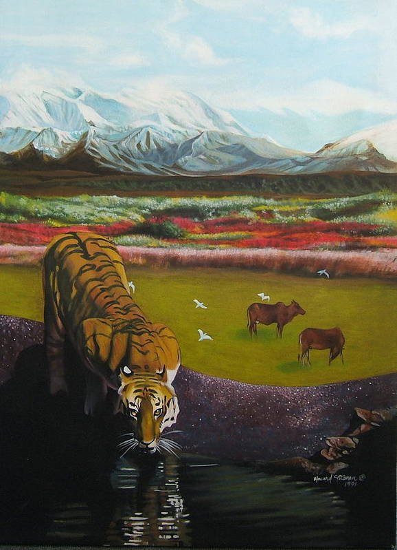 Tiger Art Print featuring the painting Tiger by Howard Stroman
