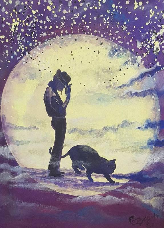 Art Print featuring the mixed media Walk To The Moon by Gergana Bojikova