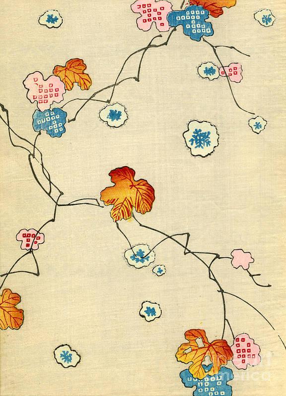 Vintage; Illustration; Graphic Design; Pattern; Japanese; 1880; Woodblock Print; Nobody; Meiji; Kimono; Textile Design; Pattern Book; Fall; Leaves; Tree; Branch; Autumn; Snowflake Art Print featuring the painting Woodblock Print Of Fall Leaves by Japanese School