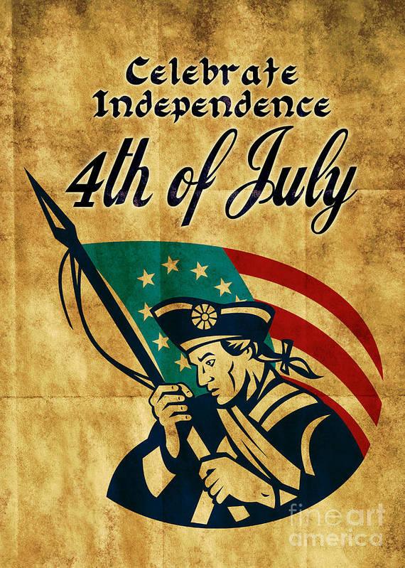 American Print featuring the digital art American Revolution Soldier General by Aloysius Patrimonio