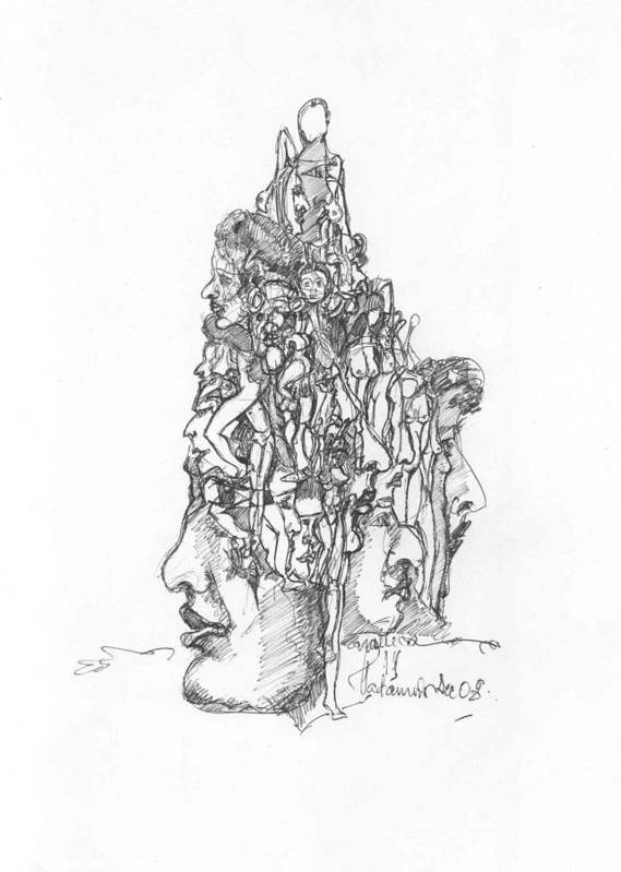 Surreal Art Print featuring the drawing 2009-12 by Padamvir Singh