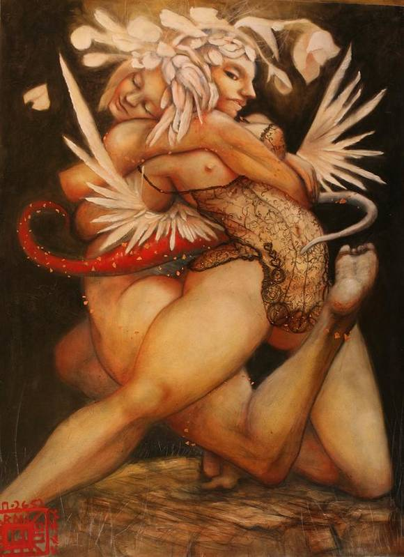 Obama Ralph Nixon Jr Embrace Of The Virgosis Art Print featuring the painting Embrace Of The Virgosis by Ralph Nixon Jr