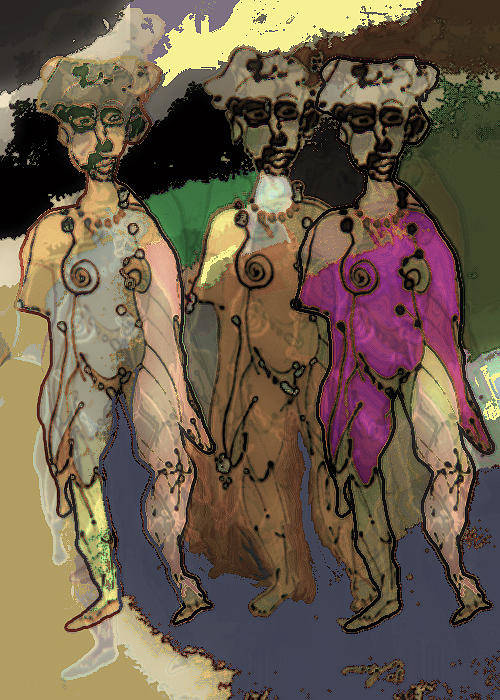 Repeat Unit Art Print featuring the painting 3 Of A Kind by Noredin Morgan