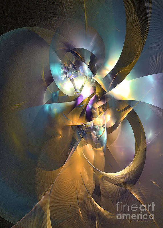 Abstract Art Print featuring the digital art A Distant Melody by Sipo Liimatainen