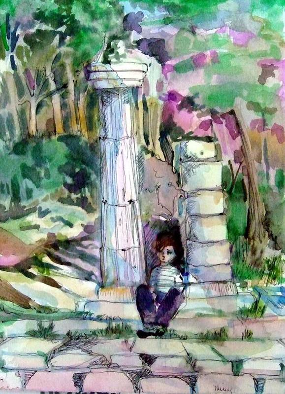 Watercolor Art Print featuring the painting A Man In Ruins by Mindy Newman