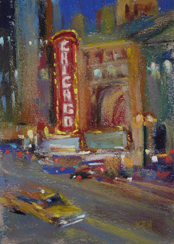 Chicago Theater Art Print featuring the painting A Night At The Theater by Karen Margulis