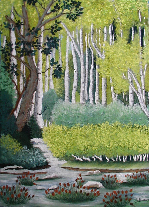 Birch Trees Art Print featuring the painting A Peaceful Place by Norma Tolliver