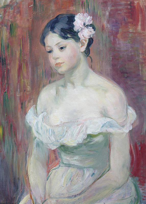 Young Art Print featuring the painting A Young Girl by Berthe Morisot