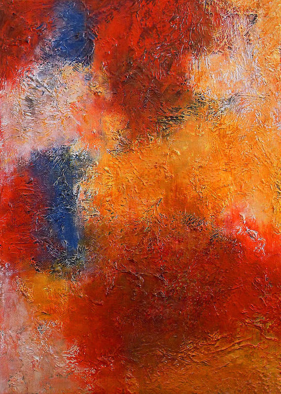 Abstract Art Print featuring the painting Abstract In Warm Colors by Angela Anelli