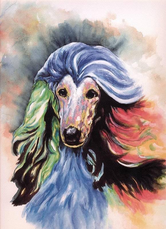 Afghan Hound Art Print featuring the painting Afghan Storm by Kathleen Sepulveda