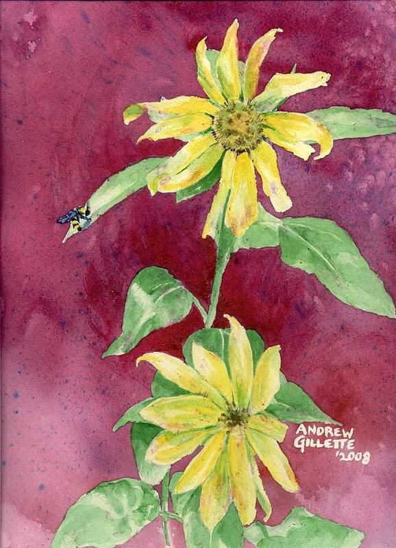 Sunflower Art Print featuring the painting Ah Sunflowers by Andrew Gillette