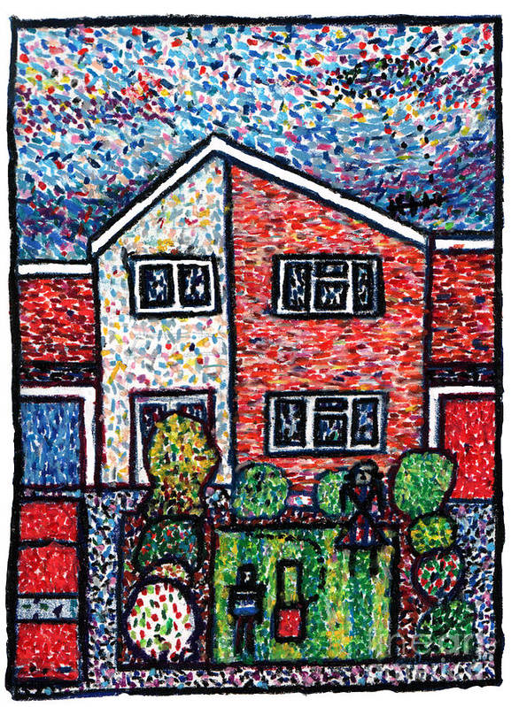 Suburbia Art Print featuring the drawing Aliens Mowed My Lawn by Andy Mercer