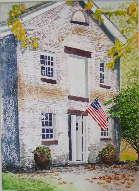 Old Buildings Art Print featuring the painting Allaire Carpenter Shop by Ally Benbrook