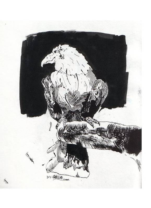 Ink Art Print featuring the painting Alone In The Dark by Gabriel Mendez