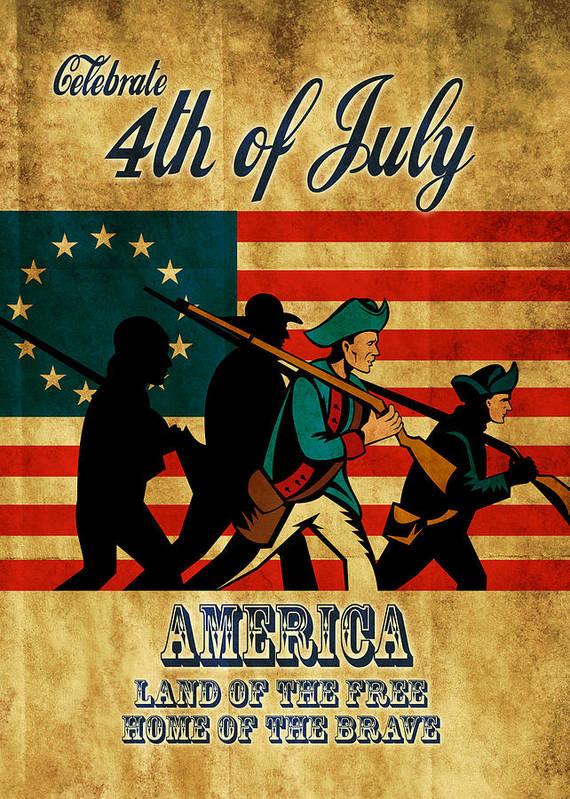 American Art Print featuring the digital art American Revolution Soldier Vintage by Aloysius Patrimonio