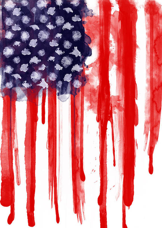 America Art Print featuring the painting American Spatter Flag by Nicklas Gustafsson