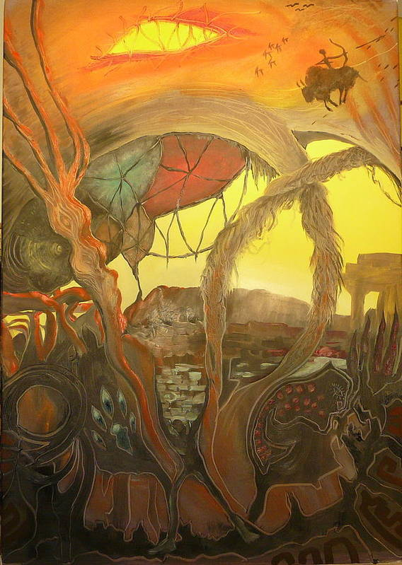 Transrealist Art Print featuring the painting Ancient Dawn Of New Kings by Zsuzsa Sedah Mathe