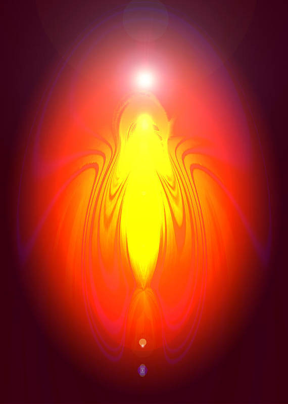 Andel Print featuring the digital art Angel-energy-healing by Ramon Labusch