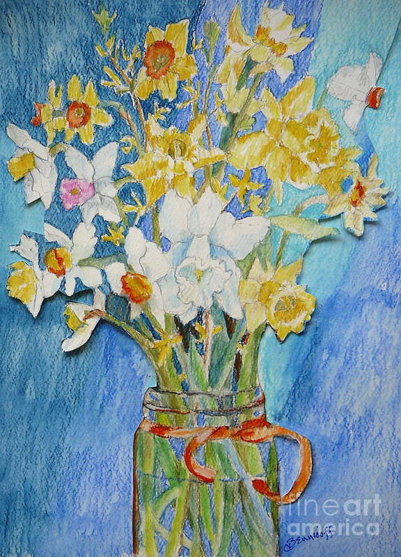 Flowers Art Print featuring the painting Angels Flowers by Jan Bennicoff