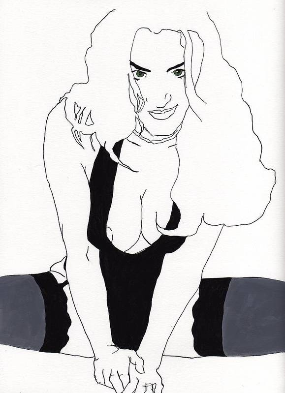Portrait Art Print featuring the drawing Anna-black Stockings by Stephen Panoushek