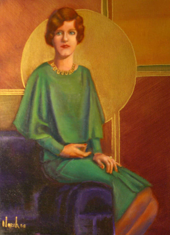 Portrait Art Print featuring the painting Art Deco Redhead by Norah Brown