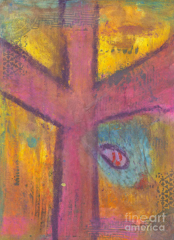 Cross Art Print featuring the mixed media At The Cross by Angela L Walker